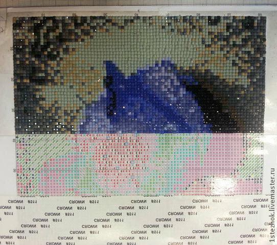 Процесс выкладывания стразов в алмазной мозаике