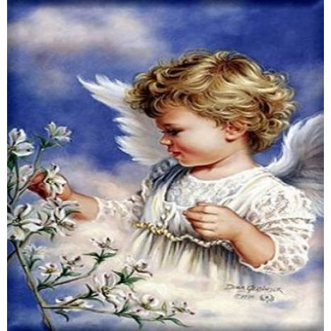 Алмазная вышивка Ангел с белыми цветами