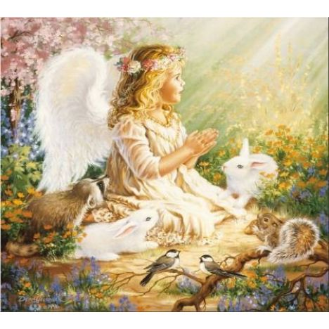 Алмазная вышивка Ангелочек на солнечной полянке