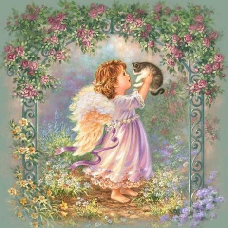 Алмазная вышивка Ангел с котенком
