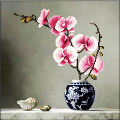 Набор для вышивки крестиком 3D Розовая орхидея