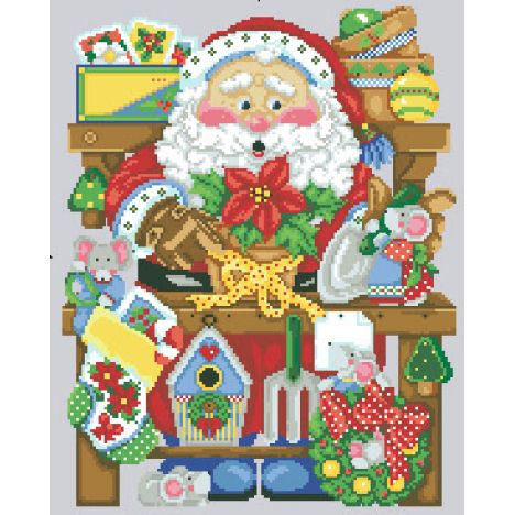 Алмазная вышивка набор Санта готовит подарки