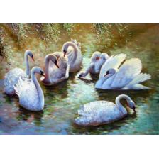 Алмазная вышивка набор Лебединая семья