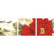 триптих Красный цветок