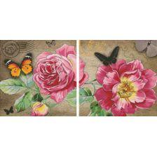 диптих Цветы с бабочками