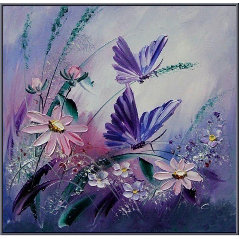 Алмазная вышивка бабочки и цветы