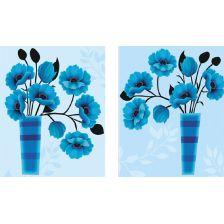 диптих Синие цветы в вазах