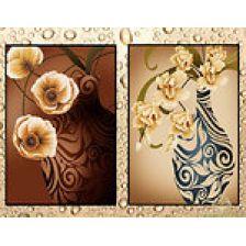 диптих Цветы в коричневых тонах