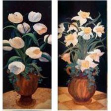 диптих Белые цветы в вазах
