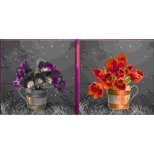 диптих Синие и красные тюльпаны