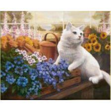 Алмазная вышивка набор Белый кот