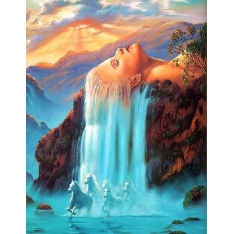 Алмазная вышивка  Водопад волосы женщины