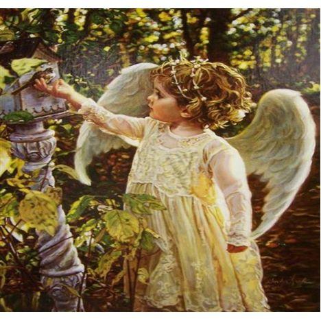 Алмазная вышивка, Ангелок кормит птичку