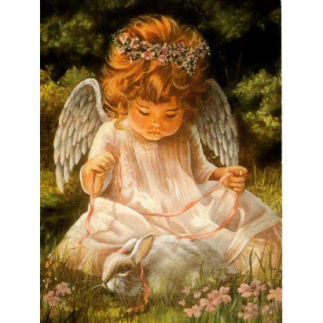 Алмазная вышивка Ангелок с кроликом
