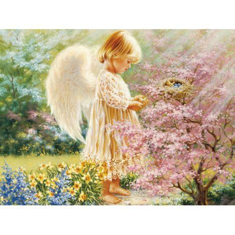 Алмазная вышивка Ангелочек в райских кущах