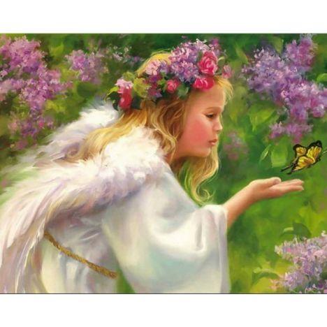 Алмазная вышивка Ангел с бабочкой