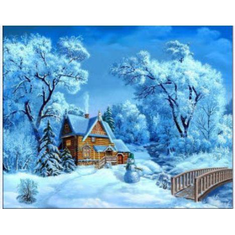 Алмазная вышивка набор Зимний деревенский пейзаж