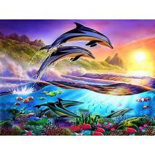 Алмазная вышивка набор дельфины