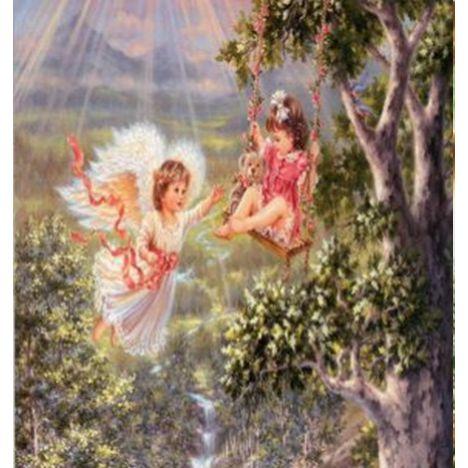 Алмазная вышивка Ангел у качели