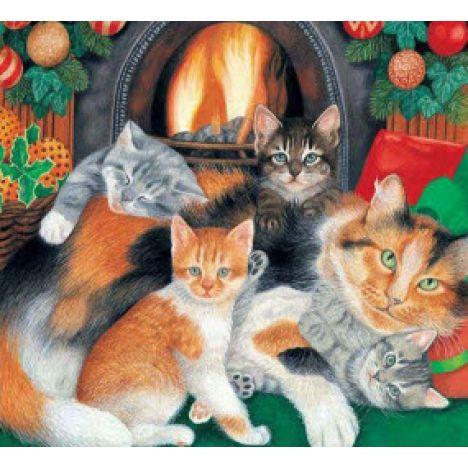 Алмазная вышивка набор Кошачий Новый год