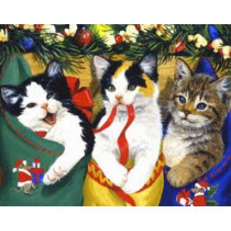 Алмазная вышивка набор  Новогодние кошки