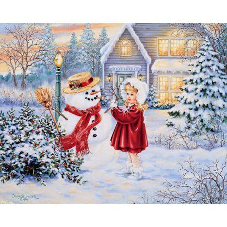 Алмазная вышивка набор  Новогодний снеговик