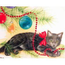 Кошка под елкой