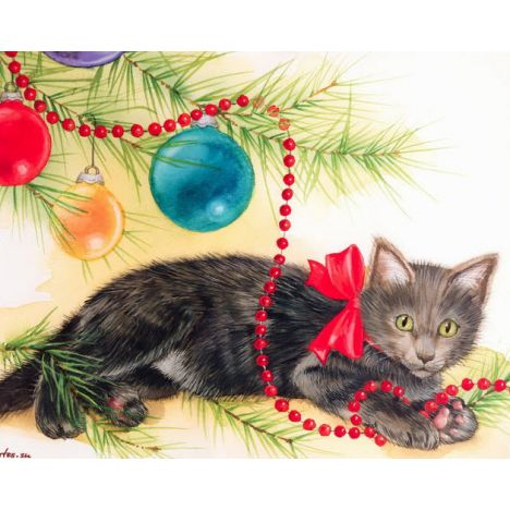 Алмазная вышивка набор Кошка под елкой
